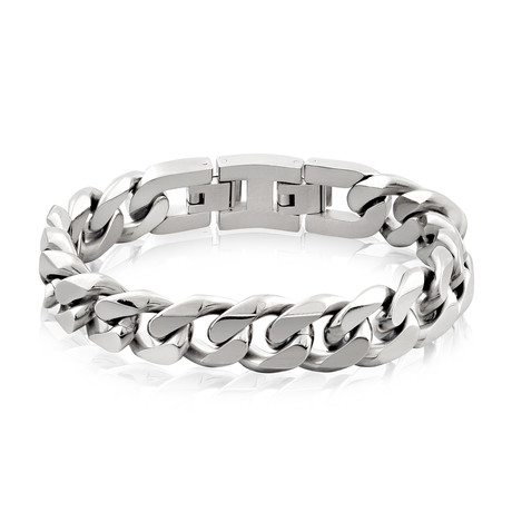 Steel Cuban Link Bracelet // 14mm // Silver