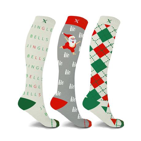 Peaceful // Holiday Fun Knee High Compression Socks // 3-Pairs (Small / Medium)