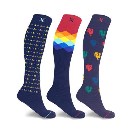 Spectrum // Bold Expressive Compression Socks // 3-Pairs (Small / Medium)