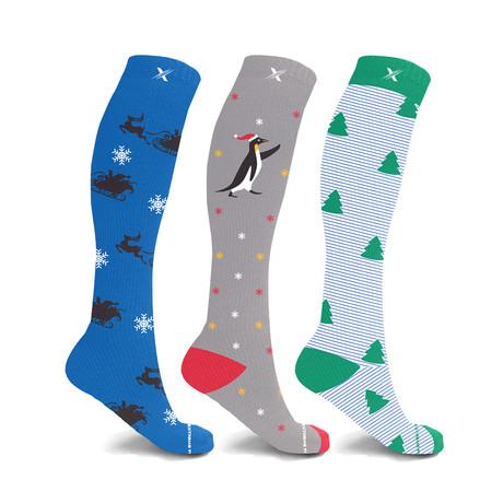 Winter Wonderland // Holiday Fun Knee High Compression Socks // 3-Pairs (Small / Medium)