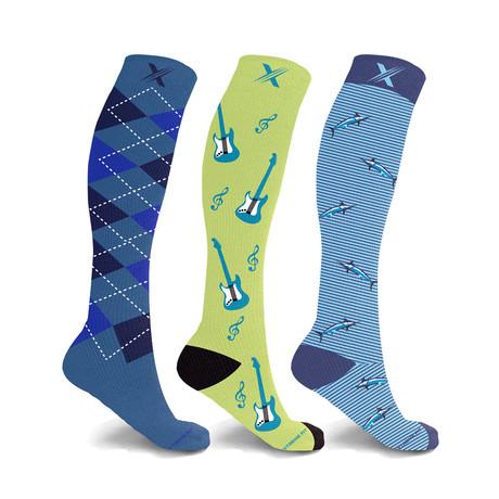 Rocker // Bold Expressive Compression Socks // 3-Pairs (Small / Medium)