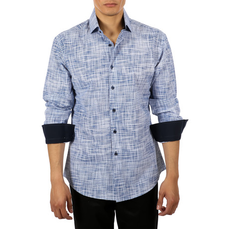 Lewis Long-Sleeve Button-Up Shirt // Blue (S)