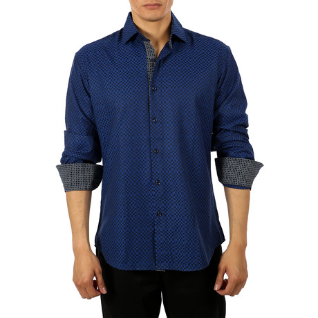 Grace Long-Sleeve Button-Up Shirt // Navy (S)