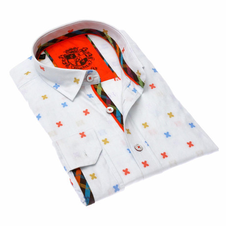 Pedro Print Button-Up Shirt // White (S)