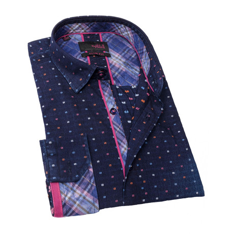Gallagher Print Button-Up // Navy (S)
