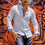 Pedro Print Button-Up Shirt // White (XL)