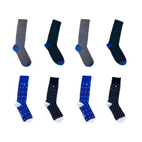 Fun Socks 4-Pack // Dotted + Polka + Dress Navy + Rombos