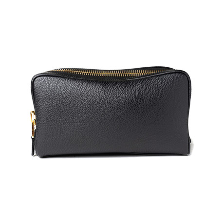 Men's Leather Double Zip Toiletry Bag // Black