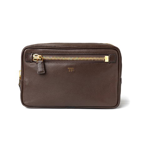Men's Leather Single Zip Toiletry Bag // Brown