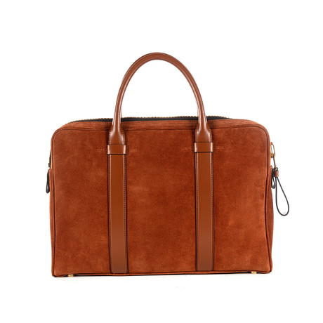 Slim Suede Buckley Briefcase // Ginger