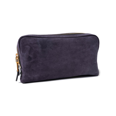 Men's Suede Double Zip Toiletry Bag // Blue