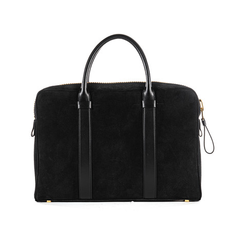 Slim Suede Buckley Briefcase // Black