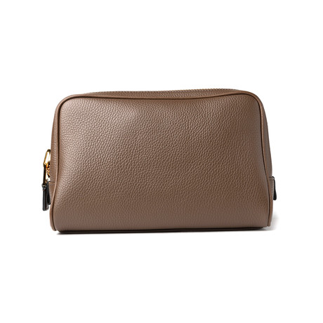 Men's Leather Single Zip Toiletry Bag // Light Brown