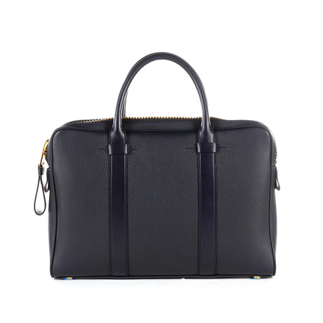 Slim Leather Buckley Briefcase // Navy