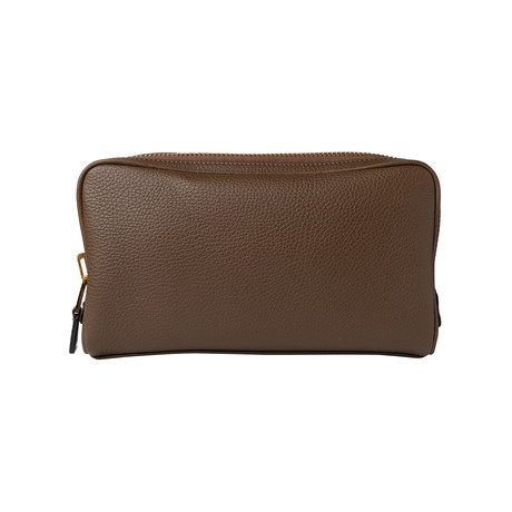 Men's Leather Double Zip Toiletry Bag // Reddish Brown