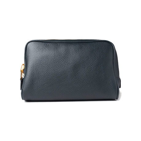 Men's Leather Single Zip Toiletry Bag // Navy