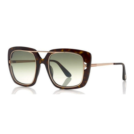 Women's Marissa Sunglasses // Dark Havana + Green Gradient