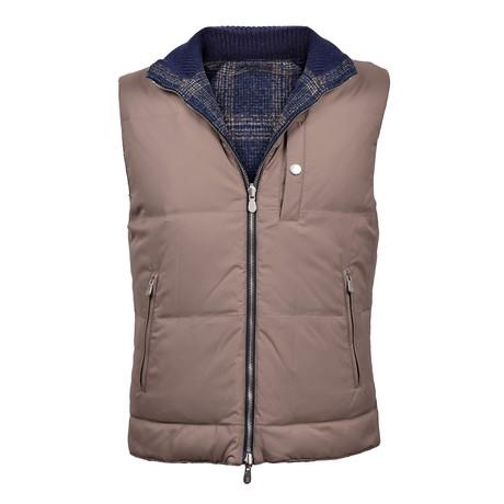Plaid Reversible Puffer Vest // Gray (XS)