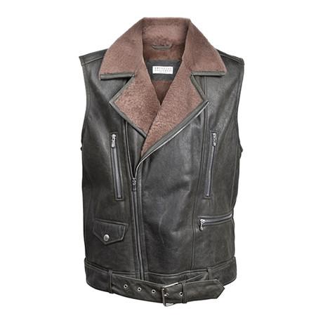 Fur Lined Leather Biker Vest // Black + Brown (XS)