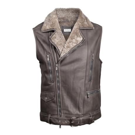 Fur Lined Leather Biker Vest // Dark Brown (XS)