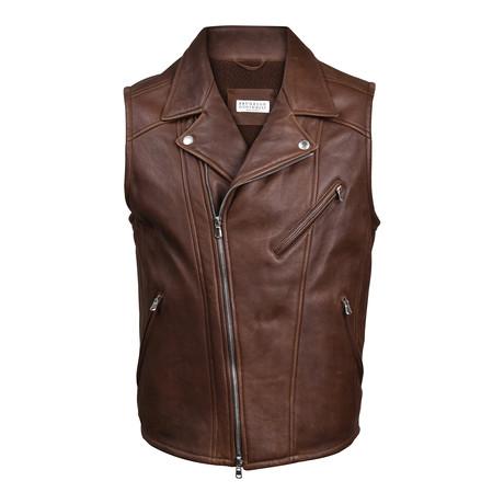 Fur Lined Leather Biker Vest // Brown (XS)
