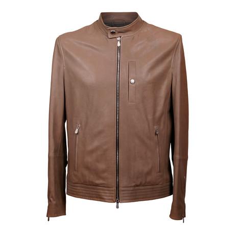 Leather Biker Jacket // Brown (XS)