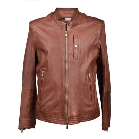 Leather Biker Jacket V2 // Light Brown (XS)