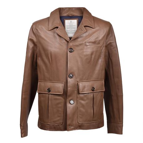 Leather Biker Jacket V1 // Light Brown (XS)