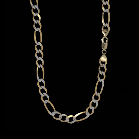 Solid 14K Diamond Cut White + Yellow Gold Figaro Chain Necklace // 7.5mm
