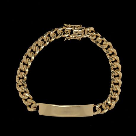 Semi-Solid 10K Yellow Gold Miami Cuban ID Bracelet // 9mm