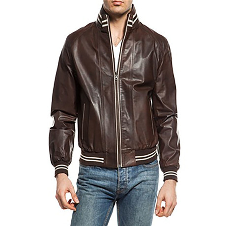 Leather Jacket // Brown + Beige (XS)
