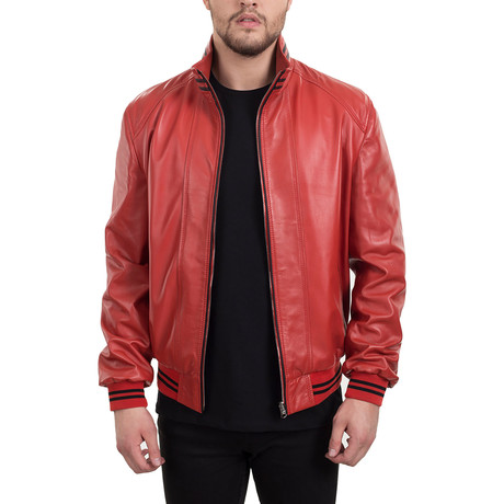 Leather Jacket // Coral + Black (XS)