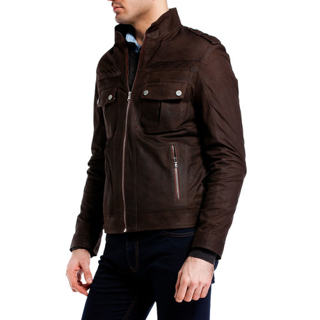 Double Pocket Snap Leather Jacket // Brown (XS)