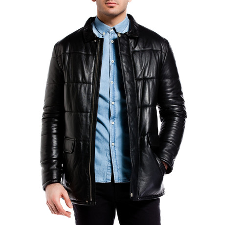 Quilted Leather Jacket // Black (XS)
