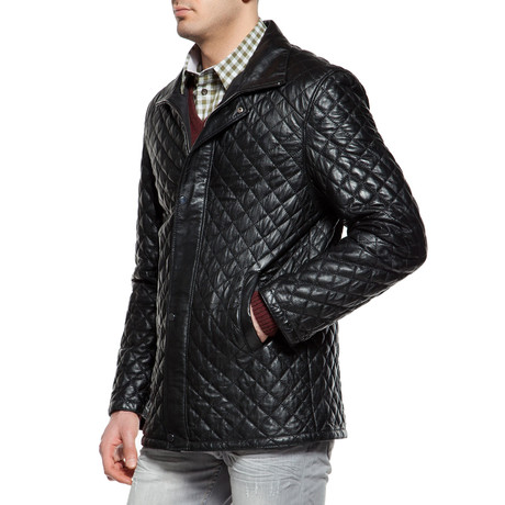 Quilted Snap Leather Jacket // Black (XS)