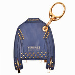 Gianni Versace // Leather Jacket Key Chain // Blue