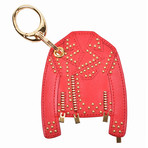 Gianni Versace // Leather Jacket Key Chain // Red