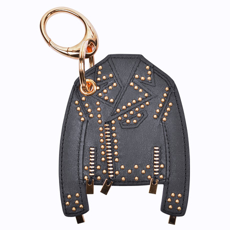 Gianni Versace // Leather Jacket Key Chain // Black