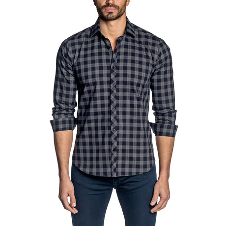 Plaid Long Sleeve Shirt // Navy (S)