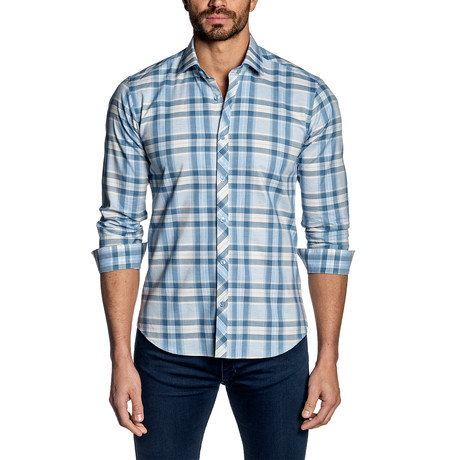 Plaid Long-Sleeve Shirt // Baby Blue (S)