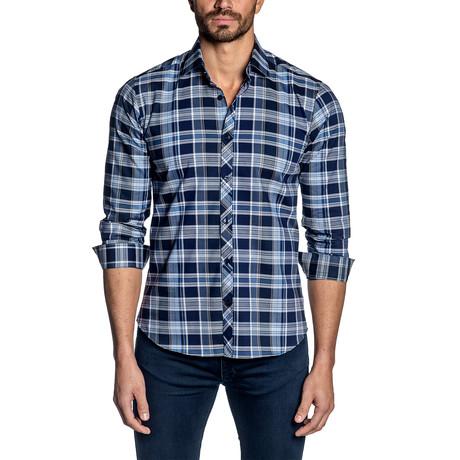 Long Sleeve Shirt // White + Navy Plaid (S)