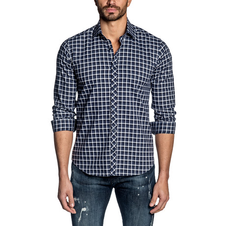 Long Sleeve Shirt // Navy + White Plaid (S)