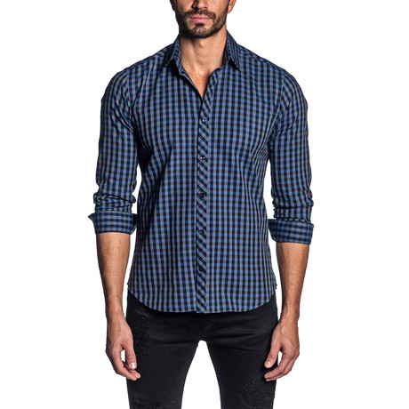 Long Sleeve Shirt // Charcoal + Blue Check (S)