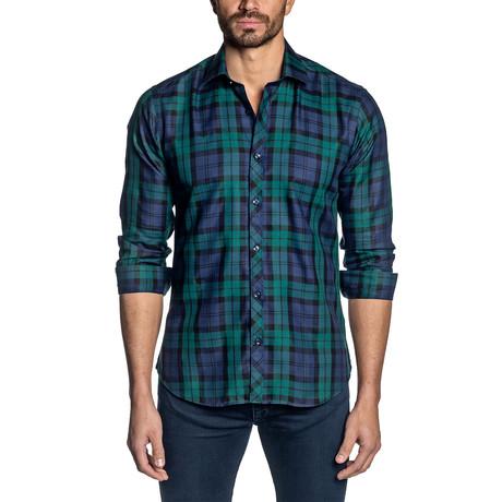 Plaid Long Sleeve Shirt // Navy + Teal (S)