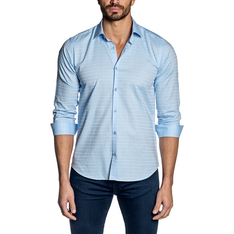 Jacquard Long Sleeve Shirt // Baby Blue (S)