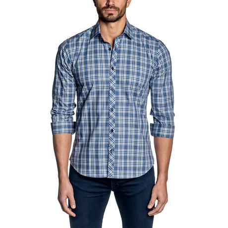 Long Sleeve Shirt // White + Blue Plaid (S)