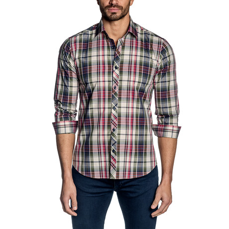 Plaid Long-Sleeve Shirt // Navy + Red (S)
