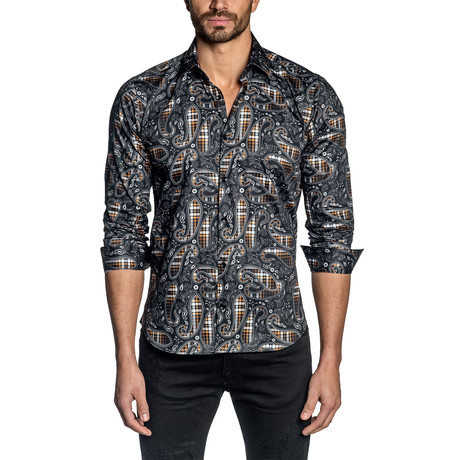Paisley Long Sleeve Shirt // Black + Orange (S)