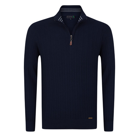 Golfer Textured Half-Zip Pullover // Light Navy (S)