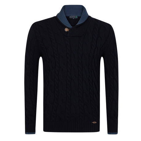 Over Shawl Collar Pullover // Navy (S)